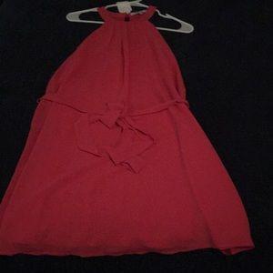 Fuschia, halter neck, sleeveless dress, sz small
